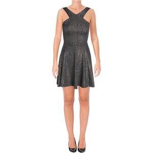 NWT Aqua Metallic Halter Dress